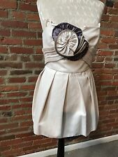 BCBG Runway Couture Mini Dress Zipper Flower Strapless Light Sandal Cotton 0