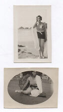 Lot 2 PHOTOS Femme Plage Maillot de bain Sexy Pin up Vers 1930 Érotique Ombrelle