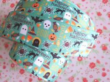 1 M x Happy Halloween Stampato Grosgrain Nastro Craft Torta Fiocco per capelli regalo 25 mm