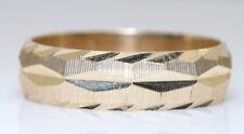 NICE NOS 14K Yellow Gold Diamond Cut Double Textured 6mm Men's Wedding Band/Ring