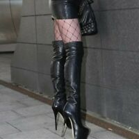 Women's Over Knee High Boots Platform Leather Round Toe Stiletto Nightclub Boots