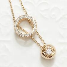 "14k Yellow Gold Rose Diamond Halo Pendant Chain Necklace 18"" Jewelry"