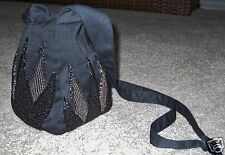Black Beaded Purse Pouch Bag Cross Body Shoulder Strap Satin Feel Fabric