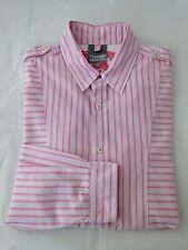 TOPMAN Pink Striped Cotton Long Sleeved Shirt with Shoulder Epaulettes - Medium