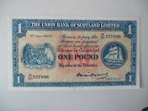 Union Bank of Scotland Ltd £5 Banknote 1954 H/30 727996 GVF rare last date