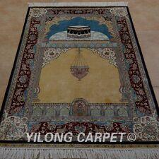 YILONG 3'x4.5' Handknotted Silk Area Rug Muslim Prayer Oriental Carpet 0041