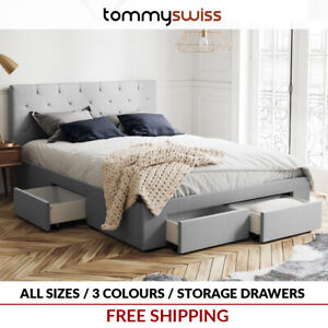 Fabric Storage Bed Frame with 4 Drawer Base in King Queen & Double Size - Grey +
