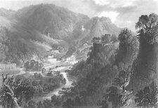 Derbyshire MATLOCK BATH HOT SPRINGS SPA TOWN Derwent ~ 1840 Art Print Engraving