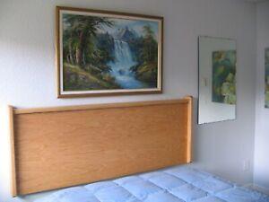 Headboard Oak Wood Scandinavian. Oil Finish. Sled Style
