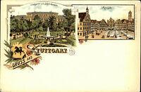 Gruss aus STUTTGART um 1900 Litho-AK Stadt-Garten, Polytechnikum u. Marktplatz