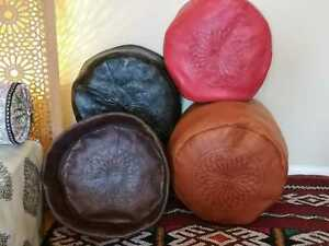 Moroccan pouffe plush Leather footstool various colours seating ottoman pouffet