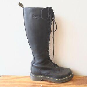 37 / 6 - Dr Martens Black Side Zip Knee High Lace Up 20 Eye Combat Boots 0720MD