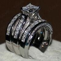 4 CT Princess Diamond Women's Wedding Engagement Ring Set 14K White Gold Over