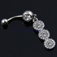 Clear Color Triple Flower Dangle Belly Ring Bar Navel Ring 3-Circles Dangling HM