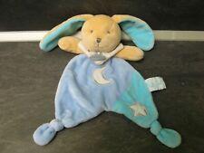 doudou lapin marron bleu lune étoile les luminescents baby nat'  état neuf