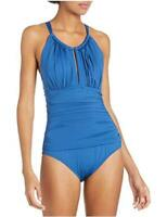 Kenneth Cole New York Women's High Neck Keyhole Halter One, Blue, Size Large pKB