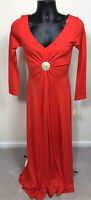 NWT Womens Dress Vintage Size 11 Small Red Maxi Body Con Rhinestone Buckle Knit