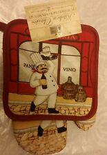 RARE 2 pc KITCHEN SET incl 1 POT HOLDER & 1 OVEN MITT, Fat Chef Vino, red back