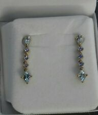 9CT YELLOW GOLD DROP EARRINGS AQUAMARINE AND TANZANITE FOR PIERCED EARS