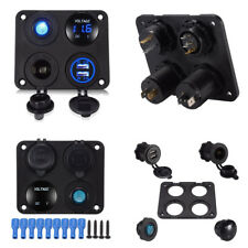 Dual USB Charger+LED Voltmeter+12V Power Socket+Switch Kit 4Hole Panel Car Truck