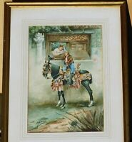 Vintage signed watercolor, 13 x 9, mystery artist