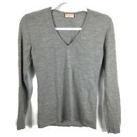 PINK Thomas Pink 100% Merino Wool Gray V-Neck Jumper Sweater SIZE S