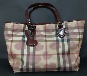 """Burberry Red Leather & """"Heart Check""""  Large Tote"""