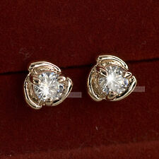 18k rose gold gp made with SWAROVSKI crystal wedding bride party stud earrings