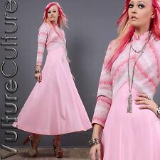 RARE Vintage 60s Hippie Goddess Dress Pink Metallic Silver Chevron 70s Maxi M/L