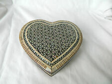"Egyptian Mother of Pearl Inlaid Jewelry Box Heart Shaped Valentine 5.75"" #759"