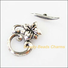 5Sets Tibetan Silver Flower Round Circle Bracelet Toggle Clasps Connectors