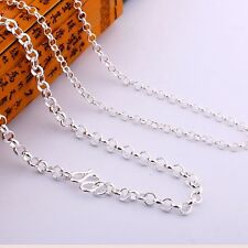 Authentic 990 Sterling Silver 3mm Rolo Link Chain Necklace 45cm Length