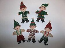 Vintage Hand Made Paper PIXIE ELF Christmas Tree Ornament SET OF 5