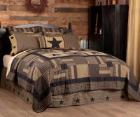 BLACK CHECK STAR QUILT-choose size & accessories-Tan Primitive Rustic VHC Brands