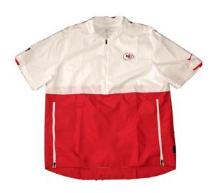 Nike Kansas City Chiefs 1/2 Zip SS Sideline Mens Jacket White Red CJ8813-100