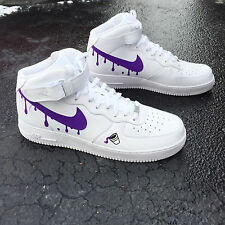Custom Nike Air Force 1  Sz 10 Purple Reign Weeknd Supreme Freebandz Bape Xi