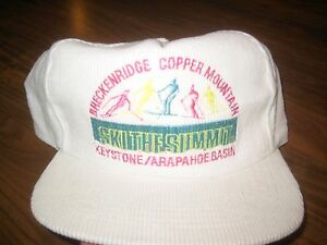 Vtg 80s 90s BRECKENRIDGE Copper Mountain SKI Colorado CORDUROY Cord Neon CAP Hat