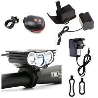3 Cree U2 LED Mountain Bike Light Bicycle Cycle Torch Headlamp 6600LM UK Stock