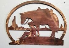 Boy and horse metal Wall art decor steel copper patina