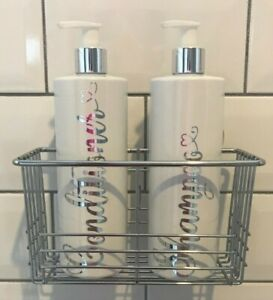 Bathroom Set of 2 White 500ml Refillable Bottles with Caddy