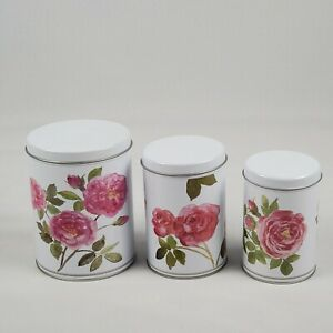 Ikea Of Sweden Set Of 3 Floral Tripp Metal Tin Containers Kitchen Bin Canisters