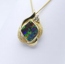GOLD JEWELLERY, SOLID 10 CARAT GOLD PENDANT WITH SOLID BOULD OPAL, DIAMOND 86708