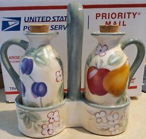 """Italian Inspired fruit Oil & Vinegar Cruet Ceramic Set By """"HOME"""""""