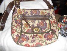 FOSSIL Multicolor Neutral Browns Tans Tapestry Crossbody Shoulder Handbag Purse