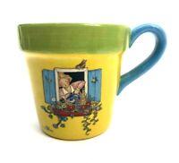 Mary Engelbreit Flower Pot Coffee Mug 1999 Teleflora Gift Ceramic Yellow Planter