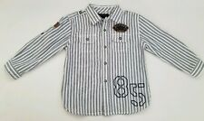 Tommy Hillfiger Striped Button Down Sz 2T Long Sleeve Shirt Casual White Boys