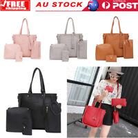 4pcs/set PU Leather Tassel Women Solid Handbags Clutch Shoulder Card Holder Bags