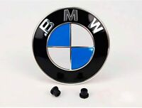BMW badge Emblem bonnet or tailgate 82mm White Blue with 2 grommets NEW