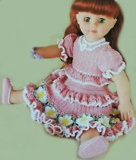 """Crochet Pattern • 18"""" Dolls Clothes • FRILLY DAISY DRESS & SHOES • Dolly Outfit"""