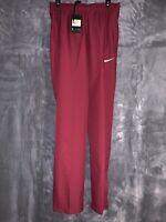 Nike Dri-Fit Woven Performance Training Pants Maroon/White 824408-610 Size Small